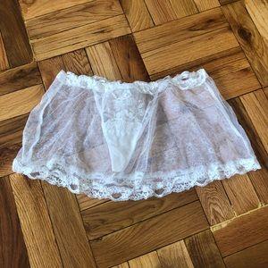 La Perla Size 2 French Lace Eyelet Skirted Thong